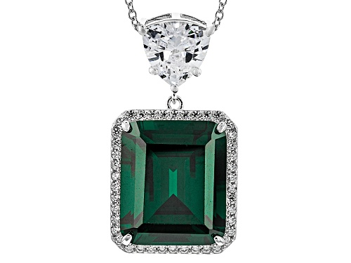 Photo of Pre-Owned Charles Winston For Bella Luce® Emerald & Diamond Simulants Rhodium Over Sterling Pendant