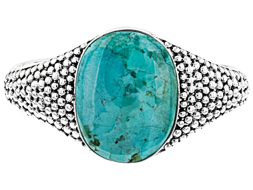 Photo of Pre-Owned Southwest Style By JTV™ 38x28mm Oval Turquoise Rhodium Over Sterling Silver Cuff Bracelet - Size 7.5