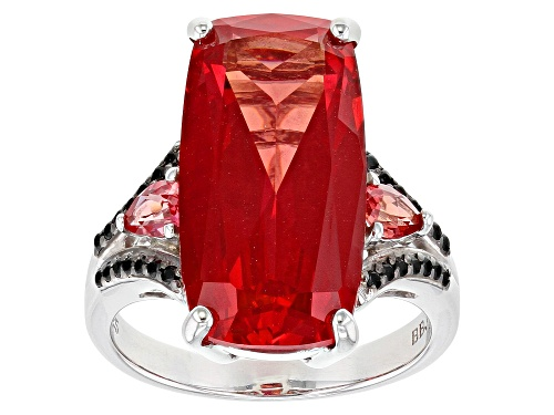 Photo of Pre-Owned 11.13ctw Lab Created Padparadscha With .14ctw Round Black Spinel Rhodium Over Sterling Sil - Size 9