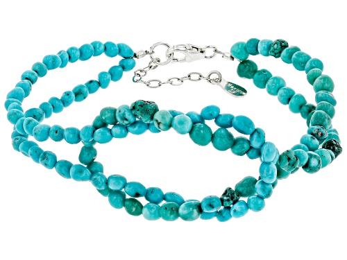 Photo of Pre-Owned Tehya Oyama Turquoise™ 3mm Blue Sleeping Beauty & Green Kingman Turquoise Silver Knot Brac - Size 7.5