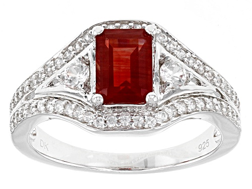 Photo of Pre-Owned .72ct Emerald Cut Red Labradorite With .62ctw Round White Zircon Sterling Silver Ring - Size 5