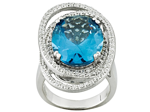 Photo of Pre-Owned Charles Winston For Bella Luce ® 11.00ctw Blue & White Diamond Simulant Rhodium Over Silve - Size 6