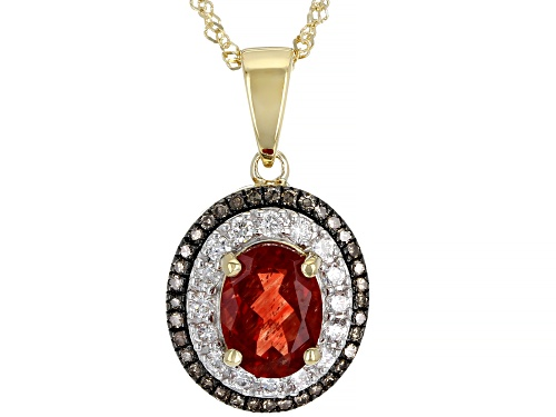 Photo of Pre-Owned 1.26ctw Red Labradorite With Lab-Grown Diamond And Champagne Diamond 10k Gold Pendant With