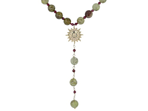 Photo of Approximately 200.00ctw Green And 6.50ctw Red Garnet Bead 10k Gold Sun Necklace - Size 20