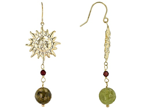 Photo of 9.50ctw Round Green & .40ctw Round Red Garnet Bead 10k Gold Sun Earrings
