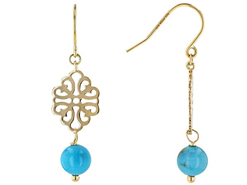 Photo of 6mm Round Turquoise Bead 10k Yellow Gold Dangle Earrings