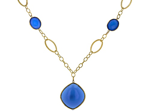 Photo of 27x24mm Marquise & 12x10mm Oval Blue Chalcedony 10k Gold Necklace - Size 20