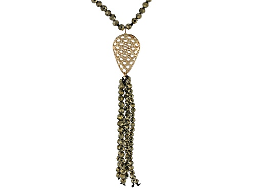 Photo of Pyrite Bead Tassel 10k Yellow Gold Necklace - Size 17