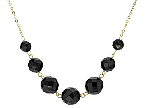 Photo of 37.00ctw Round Black Spinel 10k Yellow Gold 7-Bead Necklace - Size 18