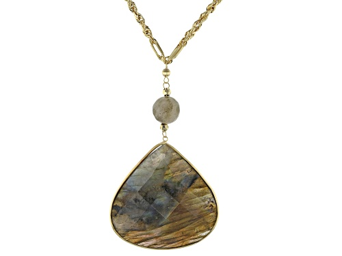 Photo of 36x36mm Pear Shape And 10mm Round Labradorite Drop 10k Gold Necklace - Size 24