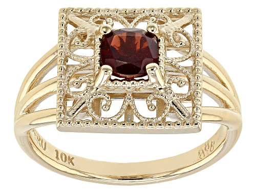 Photo of 0.65ct Square Red Garnet Solitaire 10k Yellow Gold Ring - Size 7