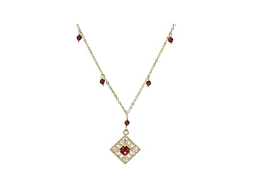 Photo of 0.65ct Square With 1.00ctw Round Red Garnet Drop 10k Gold Necklace - Size 20