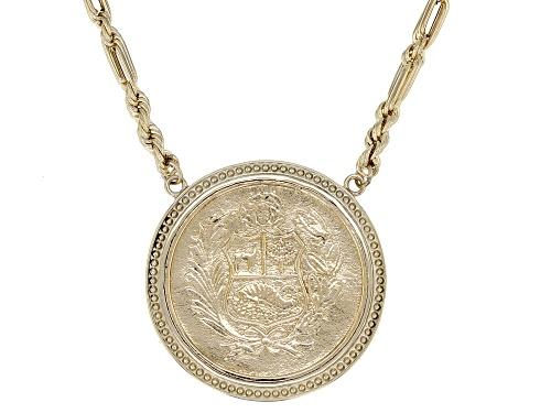 Photo of 10k Yellow Gold And Bronze Peruvian Coat of Arms Coin Necklace - Size 20