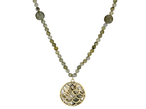 Photo of 25mm Cabochon 9.5mm and 4mm Round Bead Labradorite 10k Gold Necklace - Size 30