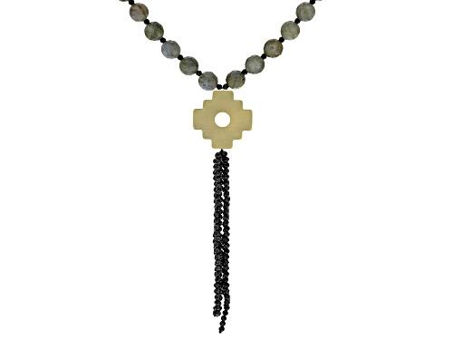 Photo of Labradorite Bead & Black Spinel Tassel 10k Gold Chakana Cross Necklace - Size 24