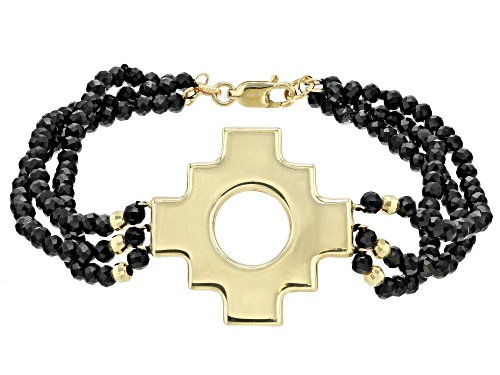 Photo of 25.00ctw Black Spinel 10k Gold Incan Chakana Cross and Bead Bracelet - Size 7.5