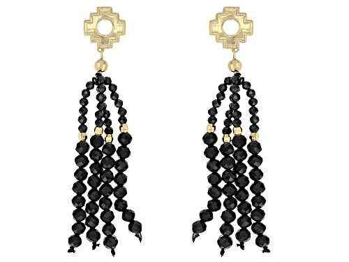 Photo of 16.53ctw Black Spinel Tassel 10k Gold Bead & Incan Chakana Earrings