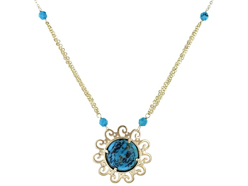 Photo of 15mm Round Cabochon & 4mm Bead Turquoise 10k Yellow Gold Necklace - Size 18