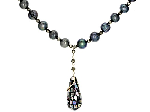 Photo of Cultured Freshwater Pearl, Pyrite & Abalone Shell 10k Gold Necklace - Size 20