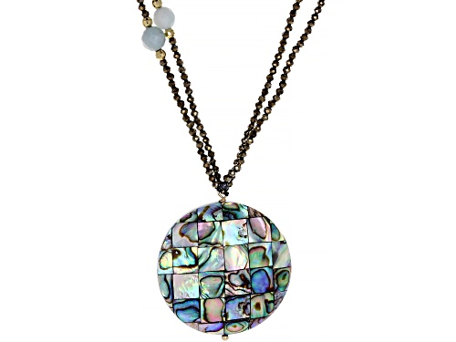 Photo of Mosaic Abalone Shell ,6mm Amazonite, 2mm Pyrite 10k Gold Necklace - Size 30