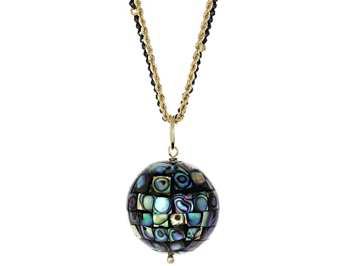 Artisan Collection Of Peru™ Mosaic Abalone Shell Pendant, 2mm Round Hematine Bead & 10k Gold Chain - Size 30