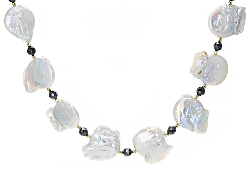 Photo of 19mm Cultured Freshwater Biwa Pearl & Hematine Bead 10k Gold Necklace - Size 22