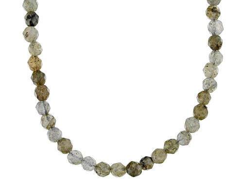 Photo of 4mm Round Labradorite Bead Strand 10k Gold Butterfly Charm Necklace - Size 30