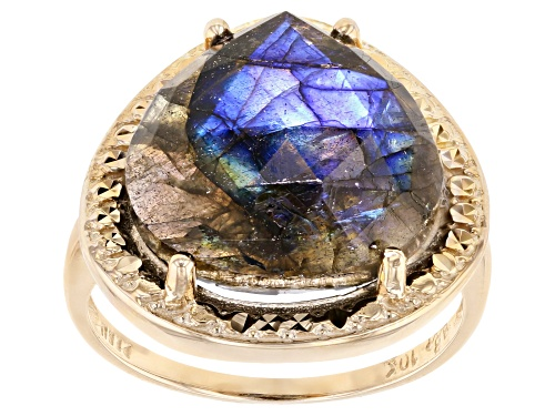 Photo of 14mm Pear Shape  Labradorite Solitaire 10k Yellow Gold Ring - Size 7