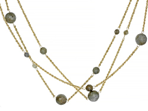 Photo of Round Labradorite Bead 10k Yellow Gold 3 Strand Necklace - Size 20