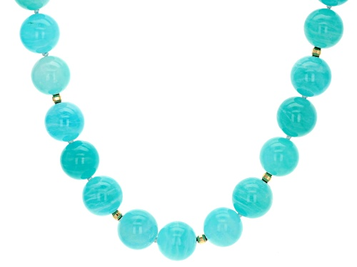 Photo of 12mm Round Amazonite 10k Yellow Gold Bead Necklace - Size 16