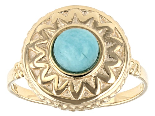 Photo of 6mm Round Cabochon Amazonite Solitaire 10k Yellow Gold Ring - Size 7