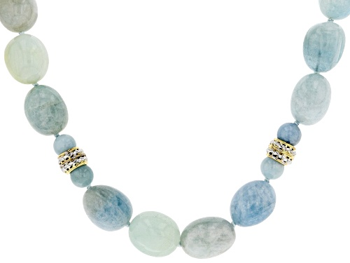 Photo of 14x12mm Nugget & 8mm Round Aquamarine Beads 10k Yellow Gold Necklace - Size 22