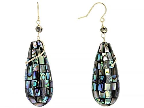 Photo of Mosaic Abalone Shell & Pyrite Bead 10k Gold Teardrop Dangle Earrings