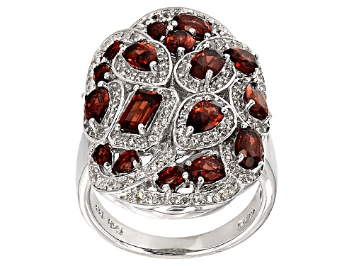 Photo of Pre-Owned 3.43ctw Mixed Shape Vermelho Garnet™ And .87ctw Round White Topaz Sterling Silver Ring - Size 10