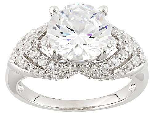Photo of Pre-Owned Bella Luce ® 5.67ctw Diamond Simulant Round Rhodium Over Sterling Silver Ring (3.42ctw D - Size 10