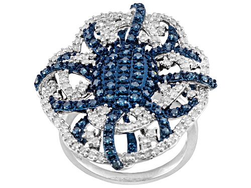 Photo of Pre-Owned 1.50ctw Blue Velvet Diamond™ & White Diamond Rhodium Over Sterling Silver Cluster Ring - Size 10