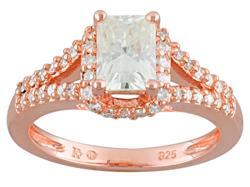 Photo of Pre-Owned Moissanite Fire® 1.64ctw Dew Radiant Cut And Round 14k Rose Gold Over Sterling Silver Ri - Size 11