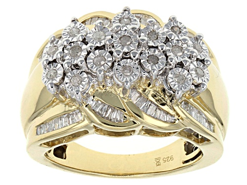 Photo of Pre-Owned Monture Diamond™ .50ctw Round & Baguette Diamond 14k Yellow Gold Over Sterling Silver R - Size 7