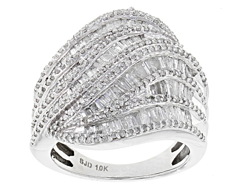 Photo of Pre-Owned 1.65ctw Round And Baguette White Diamond 10k White Gold Ring - Size 6