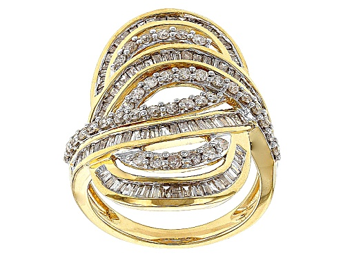 Photo of Pre-Owned Engild™ 1.70ctw Round And Baguette White Diamond 14k Yellow Gold Over Silver Crossover - Size 6