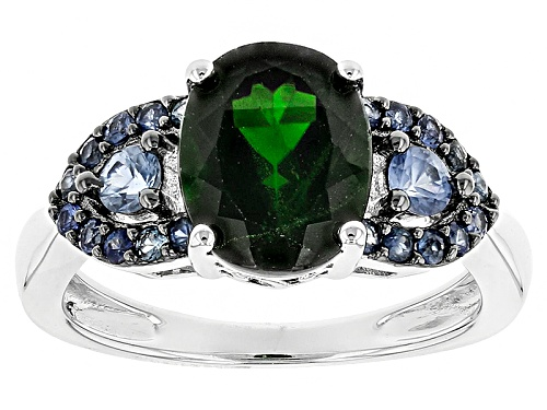 Photo of Pre-Owned 2.38ct Oval Russian Chrome Diopside And .60ctw Round Blue Sapphire Sterling Silver Ring - Size 12