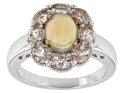 Photo of Pre-Owned .89ct Oval Ethiopian Opal With 1.19ctw Oval Morganite Sterling Silver Two Tone Ring - Size 12