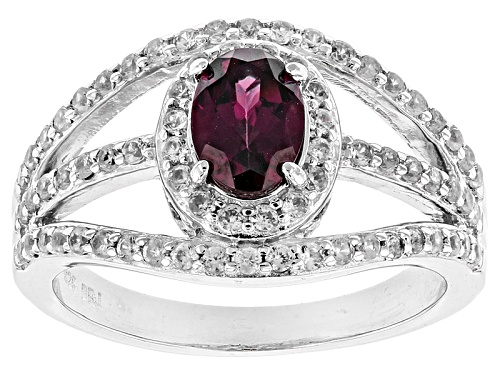 Photo of Pre-Owned .80ct Oval Raspberry Color Rhodolite And .49ctw Round White Zircon Sterling Silver Ring - Size 12