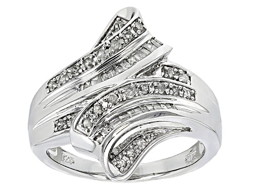 Photo of Pre-Owned .50ctw Round And Baguette White Diamond Rhodium Over Sterling Silver Ring - Size 6