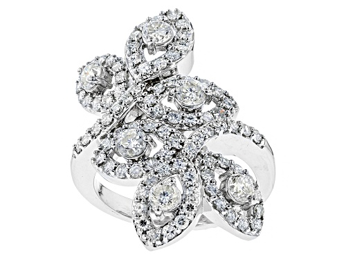 Photo of Pre-Owned Moissanite Fire® 2.44ctw Diamond Equivalent Weight Round Platineve™ Ring - Size 11