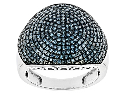 Pre-Owned 1.00ctw Blue Velvet Diamond™ Rhodium Over  Sterling Silver Dome Ring - Size 5