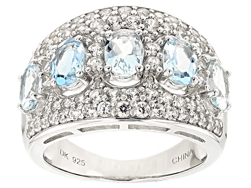 Photo of Pre-Owned 1.70ctw Oval Aquamarine And 1.23ctw Round White Zircon Sterling Silver 5-Stone Ring - Size 12