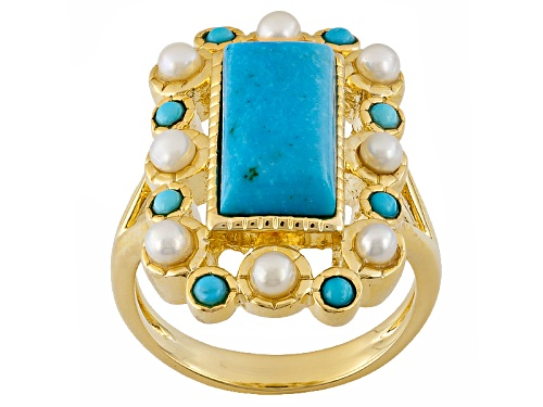 Photo of Pre-Owned Tehya Oyama Turquoise™ Turquoise With White Cultured Freshwater Pearls 18k Gold Over Br - Size 12