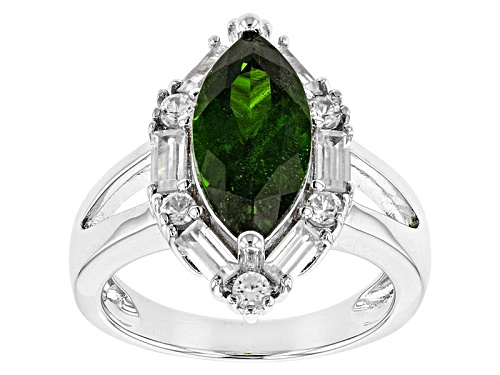 Photo of Pre-Owned 2.47ct Marquise Russian Chrome Diopside With 1.32ctw Baguette And Round White Zircon Silve - Size 10
