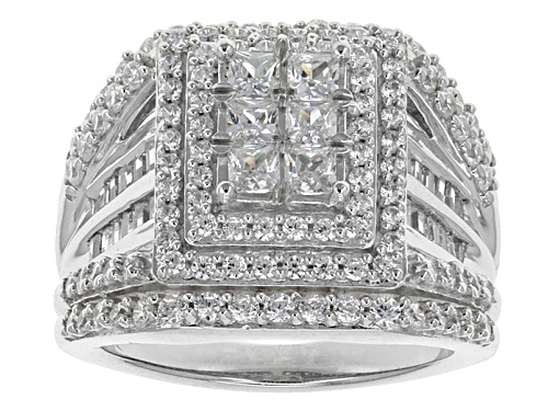 Photo of Pre-Owned Bella Luce ® 4.05ctw Diamond Simulant Rhodium Over Sterling Silver Ring (2.26ctw Dew) - Size 7